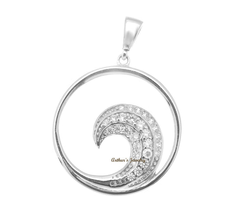 SOLID 14K WHITE GOLD HAWAIIAN OCEAN WAVE CIRCLE CHARM BLING CZ PENDANT 19MM