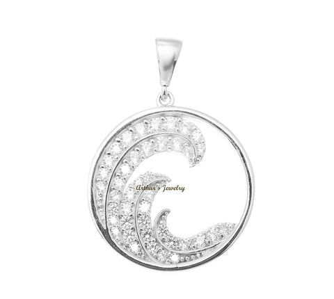 SOLID 14K WHITE GOLD HAWAIIAN OCEAN WAVE CIRCLE CHARM BLING CZ PENDANT 17.40MM