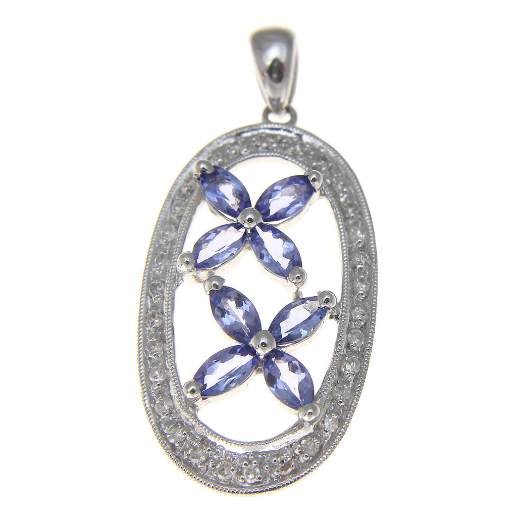 1.20CT GENUINE MARQUISE TANZANITE DIAMOND PENDANT SET IN SOLID 14K WHITE GOLD