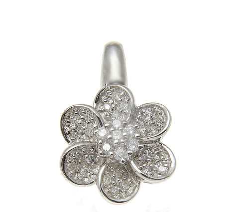 0.30CT TW DIAMOND FLOWER PENDANT IN SOLID 14K WHITE GOLD