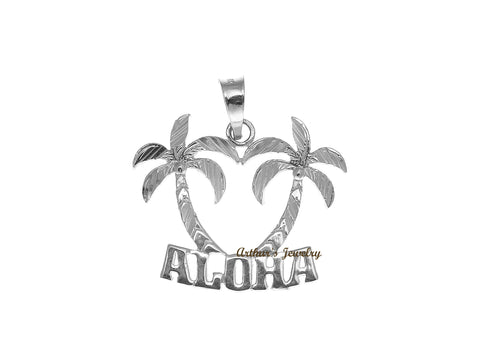 "SOLID 14K WHITE GOLD SMOOTH DIAMOND CUT HAWAIIAN PALM TREE ""ALOHA"" PENDANT"