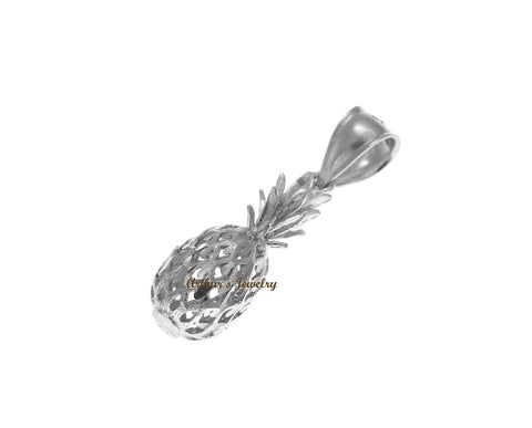 SOLID 14K WHITE GOLD 3D HAWAIIAN DIAMOND CUT PINEAPPLE CHARM PENDANT 8.2MM