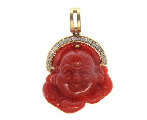 GENUINE NATURAL RED CORAL HAPPY BUDDHA DIAMOND PENDANT SOLID 18K YELLOW GOLD