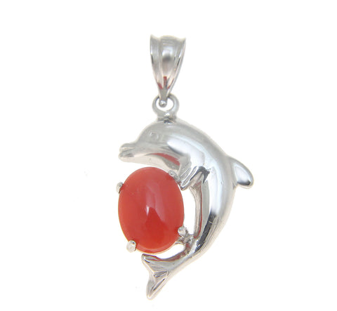 GENUINE NATURAL OVAL CABOCHON RED CORAL DOLPHIN PENDANT SOLID 14K WHITE GOLD