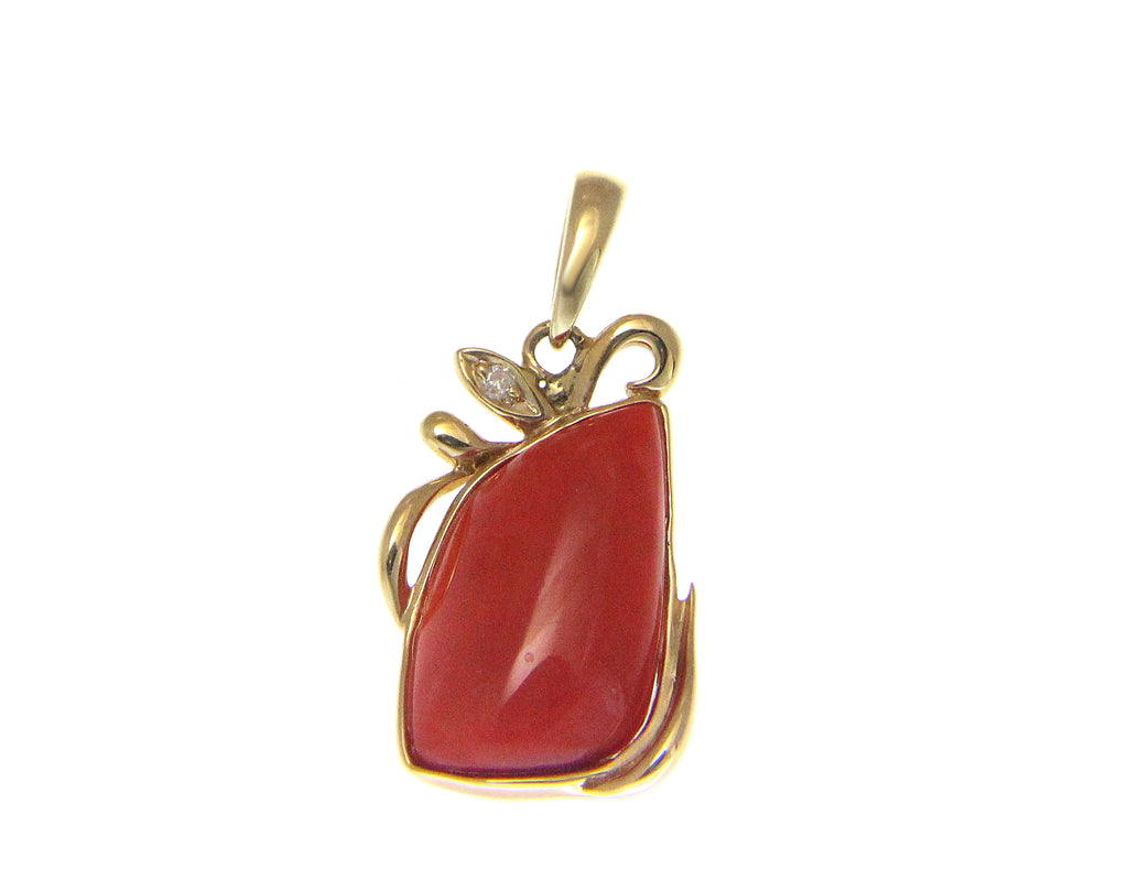 GENUINE NATURAL UNIQUE DEEP PINK CORAL DIAMOND PENDANT SOLID 14K YELLOW GOLD