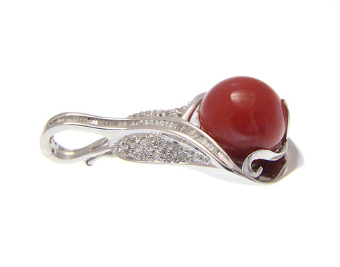 GENUINE NATURAL 11.35MM RED CORAL BALL DIAMOND PENDANT ENHANCER 14K WHITE GOLD
