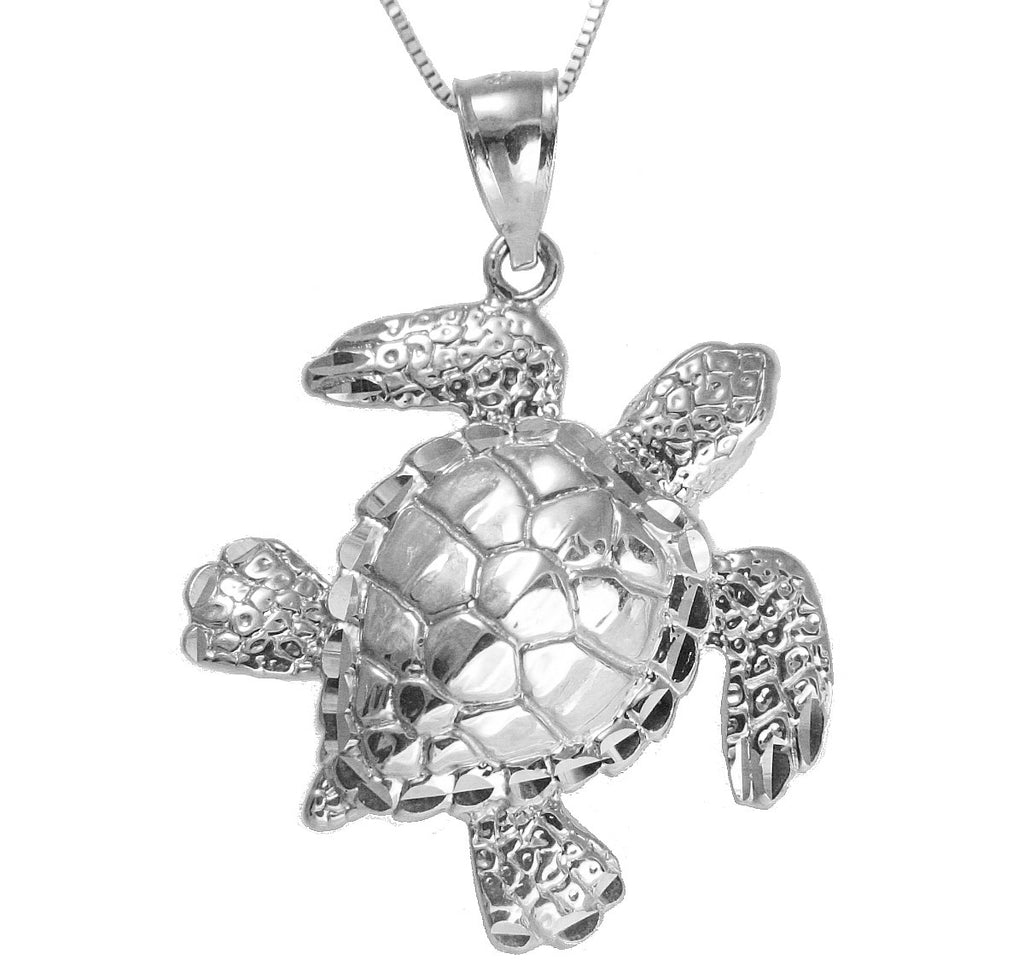 14K WHITE GOLD HAWAIIAN SEA OCEAN TURTLE HONU PENDANT EXTRA SHINY LARGE