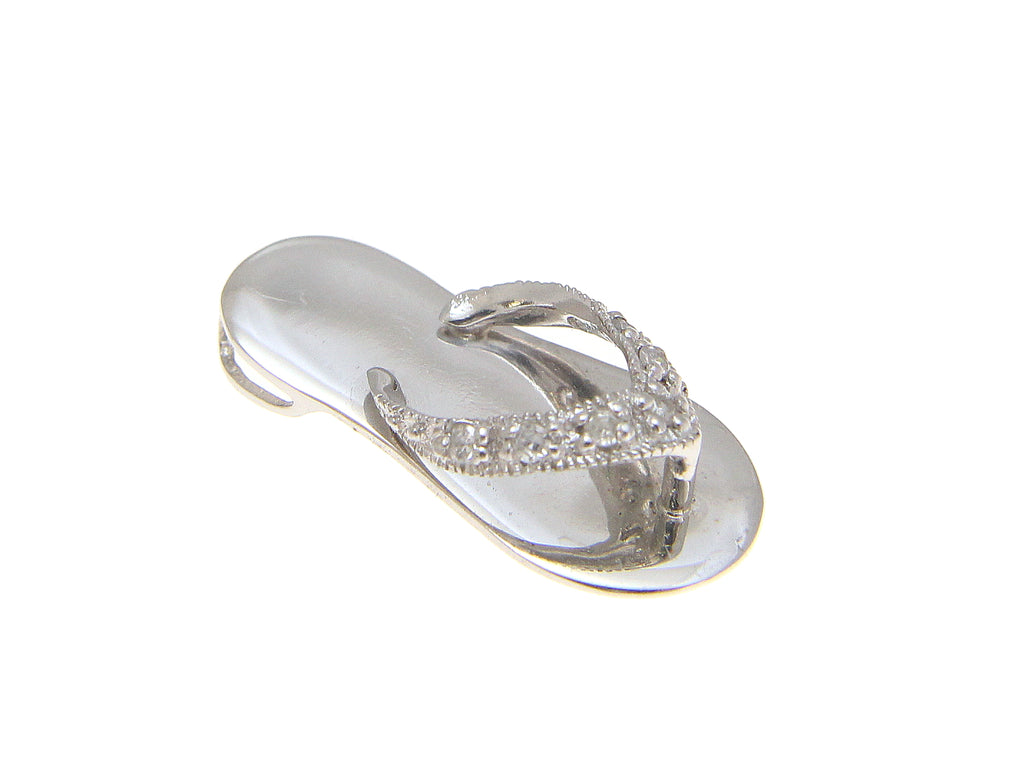 Solid 14k white gold hawaiian flip flop slipper diamond pendant solid 14k white gold hawaiian flip flop slipper diamond pendant mozeypictures Choice Image