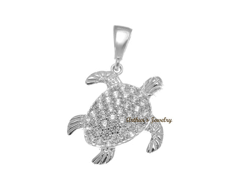 SOLID 14K WHITE GOLD SPARKLY HAWAIIAN SEA TURTLE BLING CZ CHARM PENDANT 13.65MM