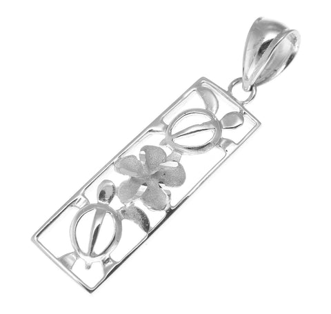 SOLID 14K WHITE GOLD HAWAIIAN CUT OUT HONU TURTLE PLUMERIA VERTICAL PENDANT