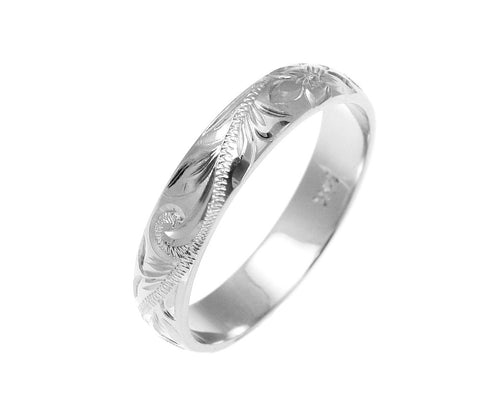 SOLID 14K WHITE GOLD CUSTOM HAND ENGRAVED HAWAIIAN PLUMERIA SCROLL BAND RING 4MM