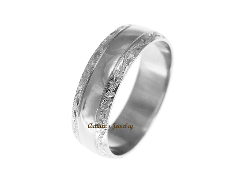 SOLID 14K WHITE GOLD HIGH POLISH CUSTOM HAND ENGRAVED HAWAIIAN SCROLL RING 6MM