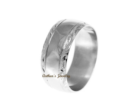 SOLID 14K WHITE GOLD HIGH POLISH CUSTOM HAND ENGRAVED HAWAIIAN SCROLL RING 8MM