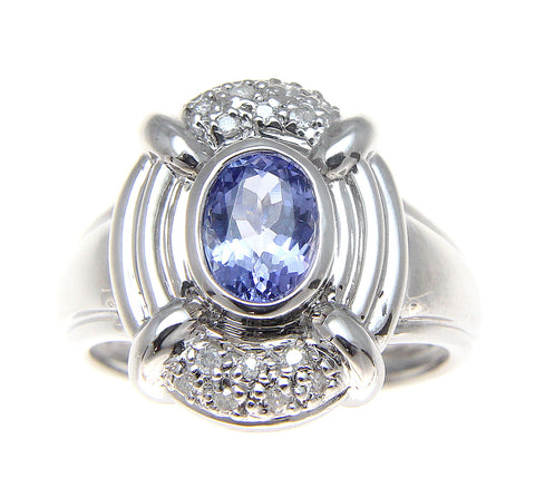 0.90CT GENUINE OVAL TANZANITE SOLITAIRE DIAMOND RING HEAVY SOLID 14K WHITE GOLD