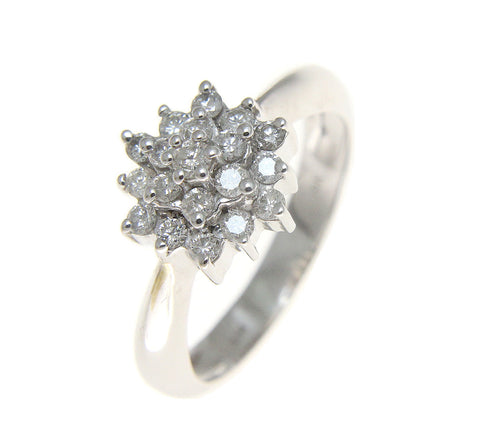0.50CT TW ROUND CUT DIAMOND HEAVY SOLID 14K WHITE GOLD RING
