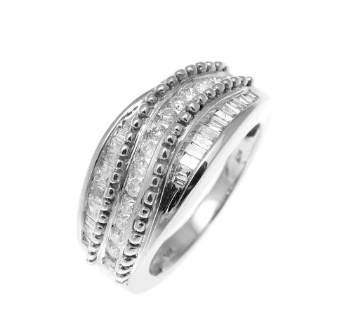 0.55CT TW DIAMOND RING IN HEAVY SOLID 14K WHITE GOLD
