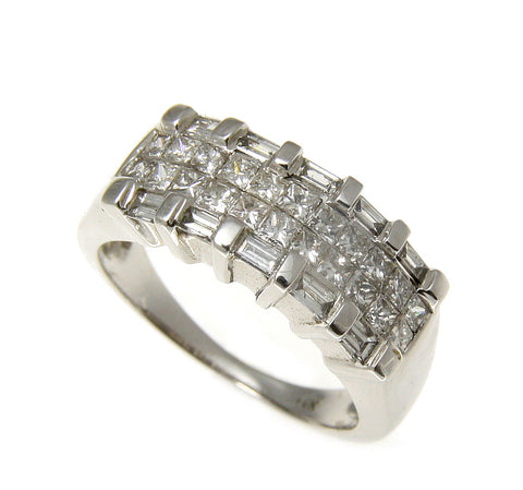 1.00CTW GENUINE PRINCESS CUT TAPER DIAMOND COCKTAIL RING SOLID 14K WHITE GOLD