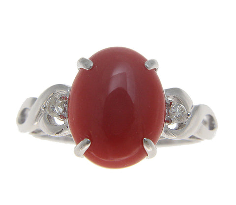 GENUINE NATURAL OVAL CABOCHON RED CORAL DIAMOND RING SOLID 14K WHITE GOLD