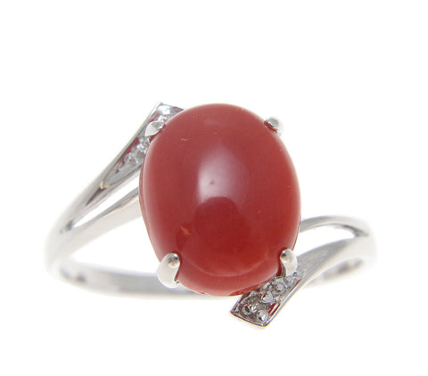 GENUINE NATURAL OVAL CABOCHON RED CORAL DIAMOND RING SET IN SOLID 14K WHITE GOLD
