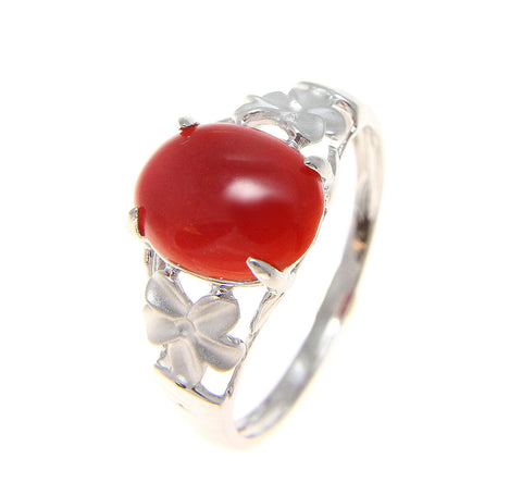 GENUINE CABOCHON NATURAL RED CORAL RING HAWAIIAN PLUMERIA FLOWER 14K WHITE GOLD