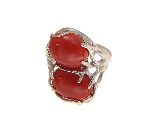 GENUINE NATURAL OVAL CABOCHON RED CORAL RING IN SOLID 14K WHITE GOLD