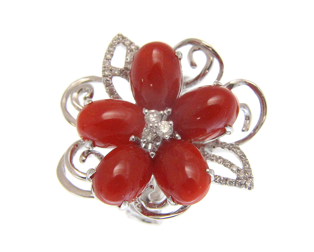 GENUINE NATURAL RED CORAL DIAMOND RING SOLID 18K WHITE GOLD
