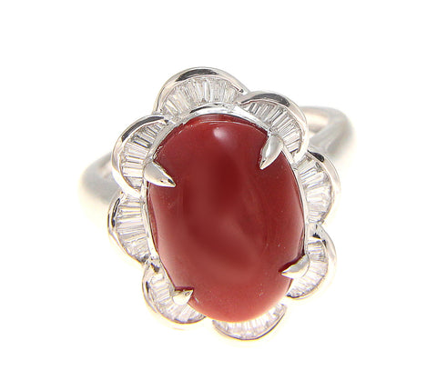 GENUINE NATURAL CABOCHON OX BLOOD RED CORAL DIAMOND RING SOLID 14K WHITE GOLD