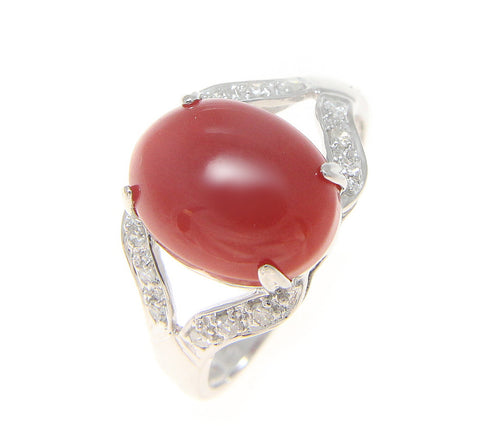 GENUINE OVAL CABOCHON NATURAL RED CORAL DIAMOND RING SOLID 14K WHITE GOLD