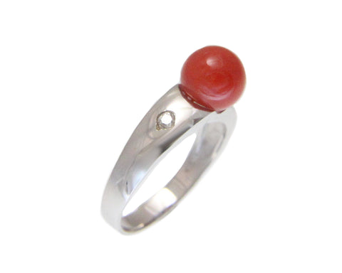GENUINE NATURAL 7.60MM RED CORAL BALL DIAMOND RING IN SOLID 14K WHITE GOLD
