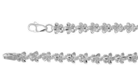 SOLID 14K WHITE GOLD HAWAIIAN PLUMERIA FLOWER BRACELET 5.5MM 7.25""