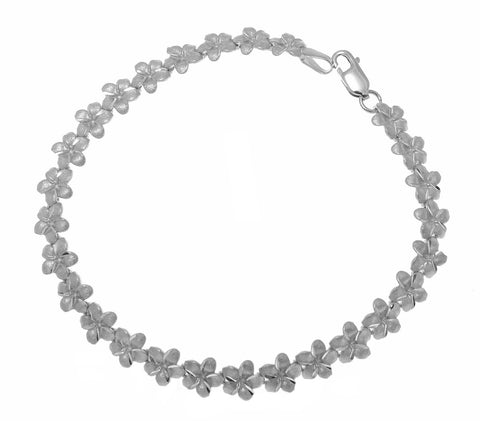 SOLID 14K WHITE GOLD HAWAIIAN PLUMERIA FLOWER BRACELET 7MM 7.25""