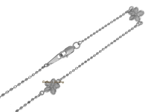 SOLID 14K WHITE GOLD 2 SIDED HAWAIIAN PLUMERIA DIAMOND CUT BEAD CHAIN ANKLET 9""