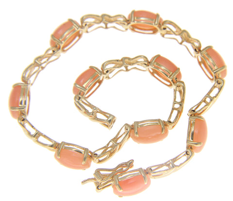 GENUINE NATURAL OVAL CABOCHON PINK CORAL TENNIS BRACELET SOLID 14K YELLOW GOLD