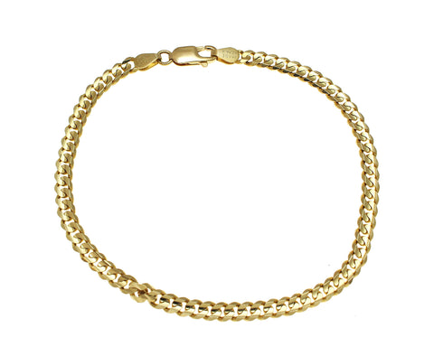 SOLID 14K YELLOW GOLD MADE IN ITALY CUBAN CURB LINK BRACELET 8 INCH 4MM