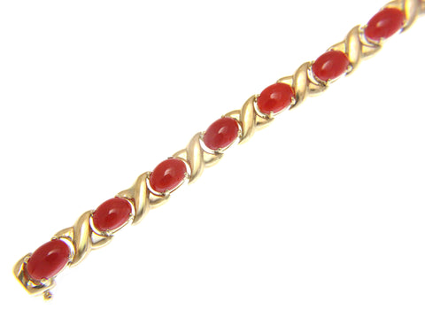 GENUINE NATURAL OVAL CABOCHON RED CORAL LINK BRACELET 14K YELLOW GOLD 7.25 INCH