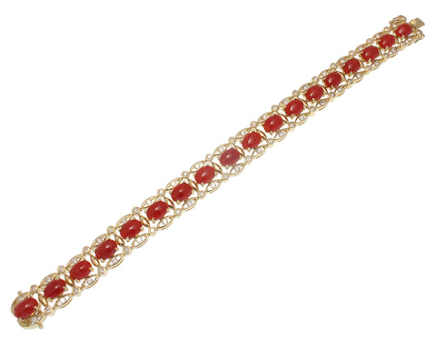 GENUINE NATURAL CABOCHON RED CORAL DIAMOND BRACELET 14K YELLOW GOLD 6 5/8 INCH