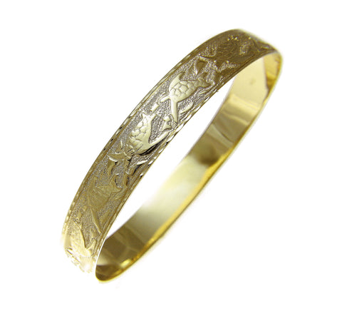 14K Yellow Gold Custom Made Hawaiian Heirloom Sea Life Honu Dolphin Quilt 10mm Bangle