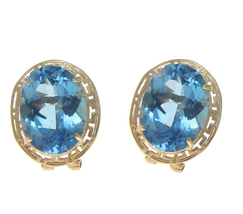 21.60CT BLUE TOPAZ EARRINGS GREEK DESIGN OMEGA FRENCH CLIP POST 14K YELLOW GOLD