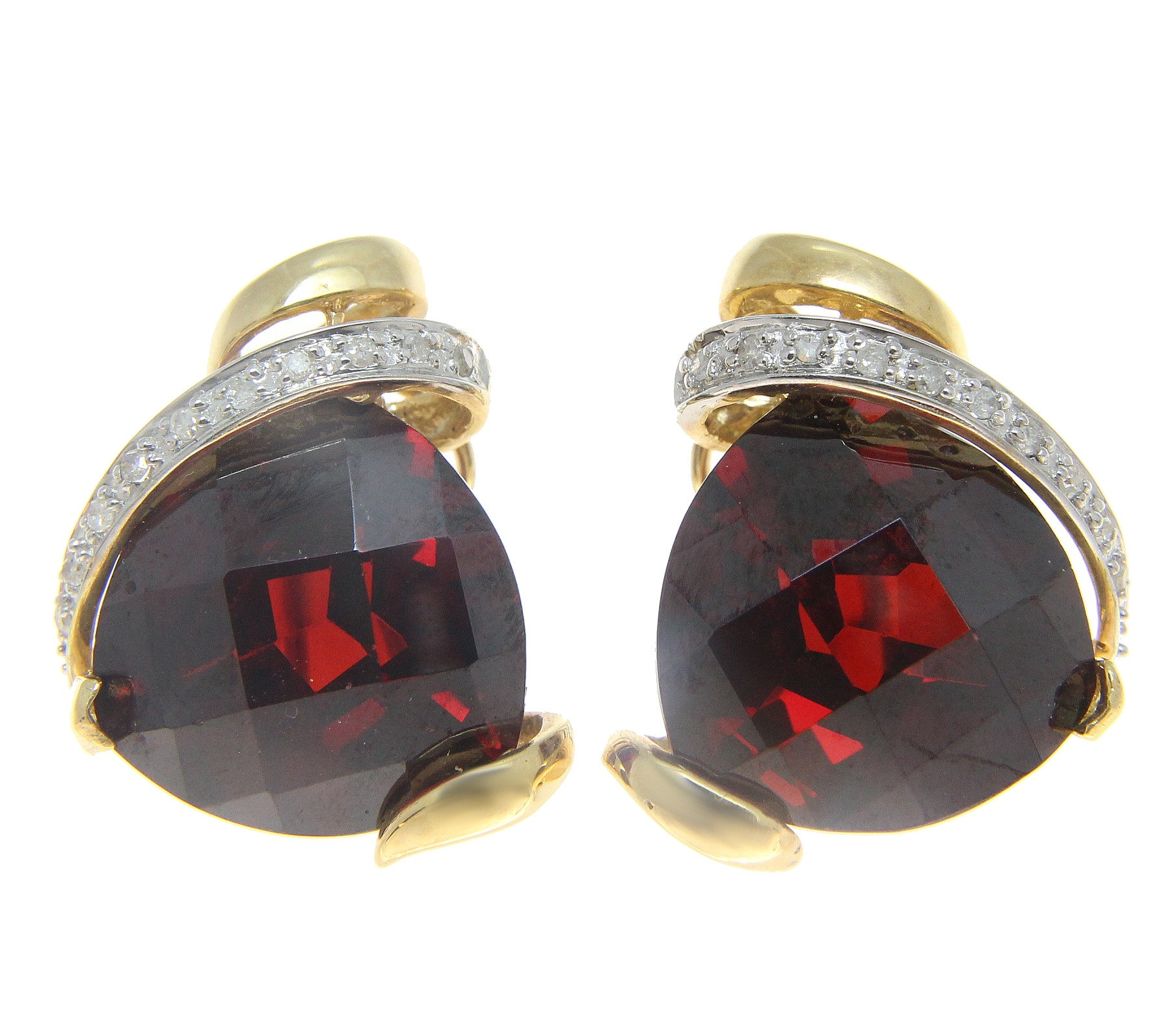 20 50CT TRILLION FACETED CHECKER GARNET DIAMOND EARRINGS OMEGA 14K