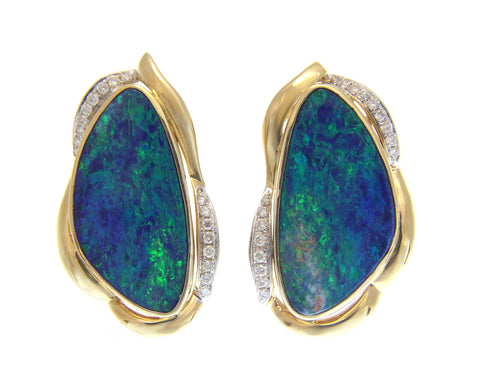 GENUINE AUSTRALIAN OPAL DIAMOND EARRINGS OMEGA BACK SOLID 14K YELLOW GOLD 18MM