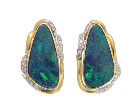 GENUINE AUSTRALIAN OPAL DIAMOND EARRINGS OMEGA BACK SOLID 14K YELLOW GOLD 15MM