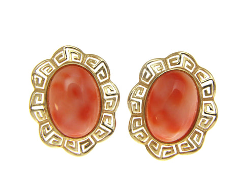 GENUINE NATURAL PINK CORAL EARRINGS GREEK WAVE OMEGA FRENCH POST 14K YELLOW GOLD