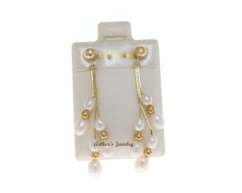 GENUINE FRESH WATER PEARL DANGLE EARRINGS SOLID 14K YELLOW GOLD