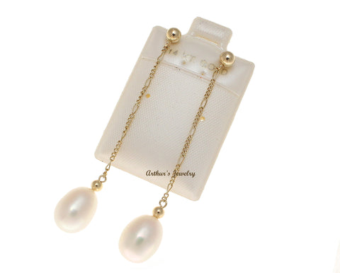 GENUINE FRESH WATER PEARL DANGLE EARRINGS FIGARO CHAIN SOLID 14K YELLOW GOLD