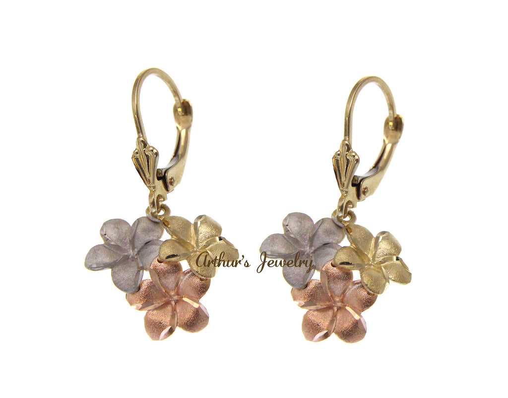 SOLID 14K YELLOW PINK WHITE TRICOLOR GOLD HAWAIIAN PLUMERIA LEVERBACK EARRINGS