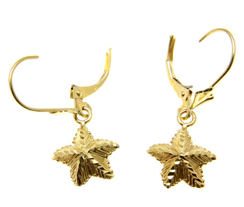 11MM SOLID 14K YELLOW GOLD HAWAIIAN OCEAN SEA STARFISH LEVERBACK DANGLE EARRINGS