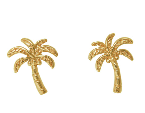 SOLID 14K YELLOW GOLD HAWAIIAN PALM TREE STUD POST EARRINGS 11.75MM