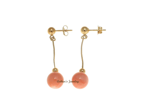 GENUINE PINK CORAL BALL DANGLE EARRINGS SOLID 14K YELLOW GOLD 7.3MM