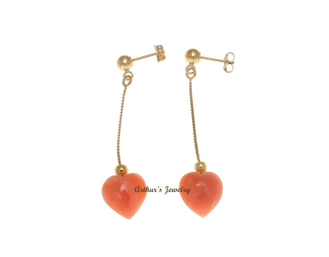 GENUINE PINK CORAL HEART DANGLE EARRINGS SOLID 14K YELLOW GOLD 10MM