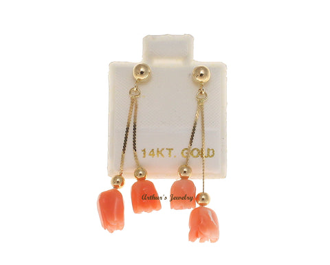 GENUINE PINK CORAL FLOWER DOUBLE DANGLE EARRINGS SOLID 14K YELLOW GOLD